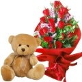 send anniversary flowers with bear in mania city