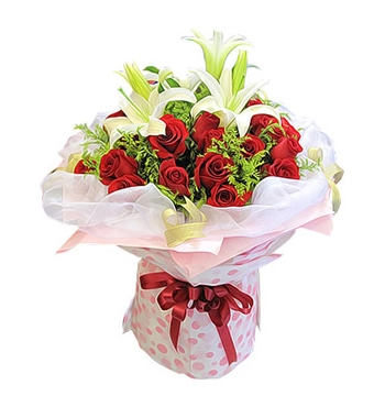2 White lilies with 18 Red Roses Send to Manila Philippines