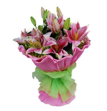 6 Pink Perfume lilies Bouquet Send to Manila Philippines