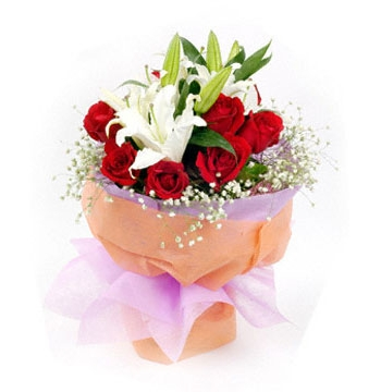 2 White lilies with 12 Red Roses Send to Manila Philippines