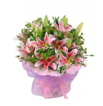 12 Pink lilies with Green leaves Send to Manila Philippines