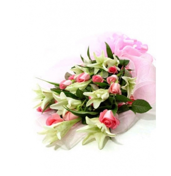 12 Red Roses with 9 White lilies Send to Manila Philippines
