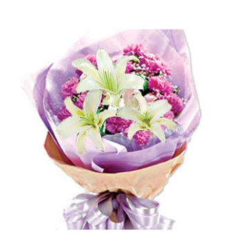 3 White lilies with16 Pink Carnations Send to Manila Philippines