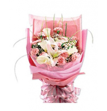 3 Pink lilies with12 Pink Carnations Send to Manila Philippines