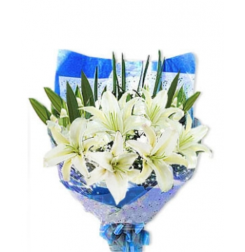 Six White lilies with Baby's Breath Send to Manila Philippines