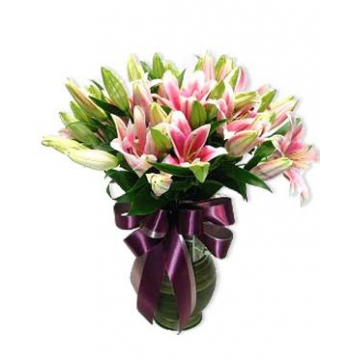 6 longs Pink lilies Send to Manila Philippines