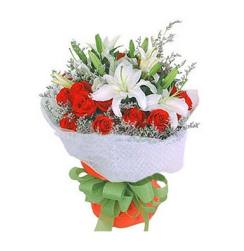 18 Red Roses with 3 White Perfume lilies Send to Manila Philippines