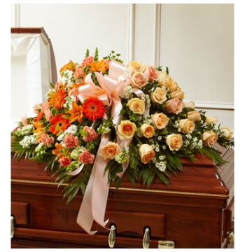 Peach & Orange Colors Casket Spray Send to Manila Philippines