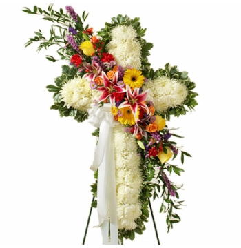 Luxurious Funeral Cross Flowers Send to Manila Philippines