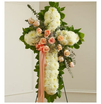Soft-Colored Cross Standing Spray Send to Manila Philippines