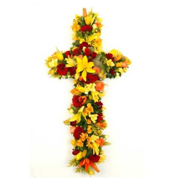 Sympathy Lily and Gerbera Cross Send to Manila Philippines