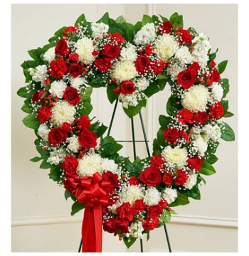 Patriotic Funeral-Flower Heart Wreath Send to Manila Philippines