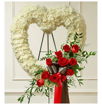White Carnation Heart Wreath Send to Manila Philippines