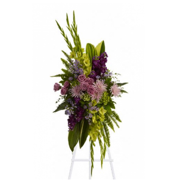 Artistic Green and Purple Standing Spray Send to Manila Philippines