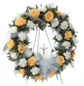 Peach and White Funeral Wreath Send to Manila Philippines
