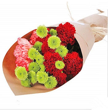 6 Red & 4 Pink Carnations with Chrysanthemum Send to Manila Philippines