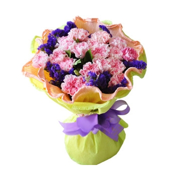 18 Pink Carnations Hand bouquet Send to Manila Philippines